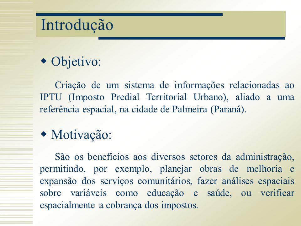 Introdução Objetivo: Criação de um sistema de informações relacionadas ao IPTU (Imposto Predial Territorial Urbano), aliado a uma referência espacial,