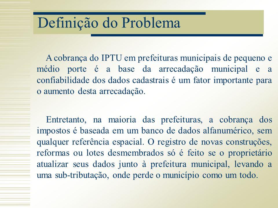 Definição do Problema A cobrança do IPTU em prefeituras municipais de pequeno e médio porte é a base da arrecadação municipal e a confiabilidade dos d