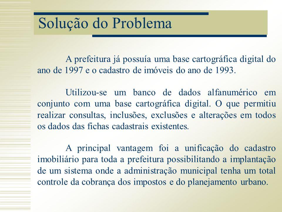 Solução do Problema A prefeitura já possuía uma base cartográfica digital do ano de 1997 e o cadastro de imóveis do ano de 1993. Utilizou-se um banco