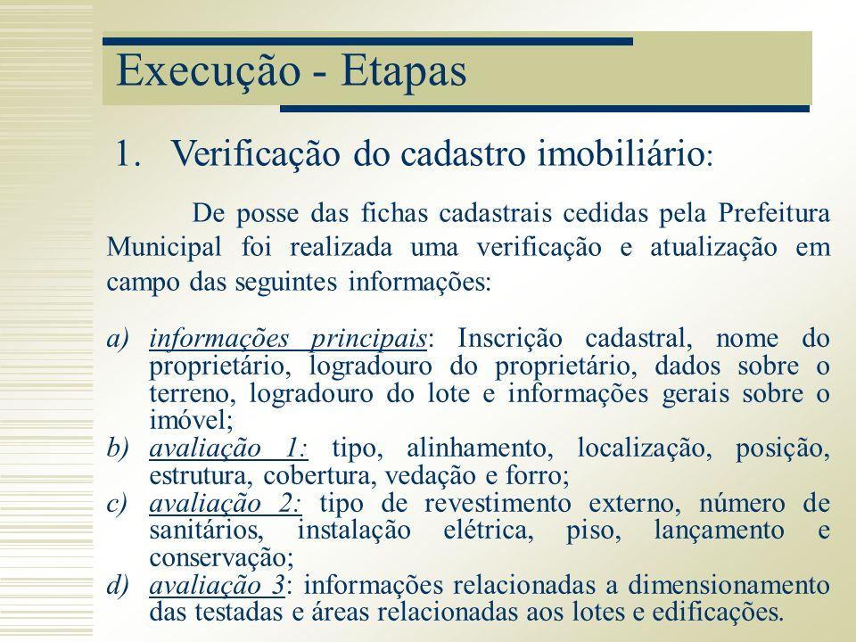 Execução - Etapas De posse das fichas cadastrais cedidas pela Prefeitura Municipal foi realizada uma verificação e atualização em campo das seguintes