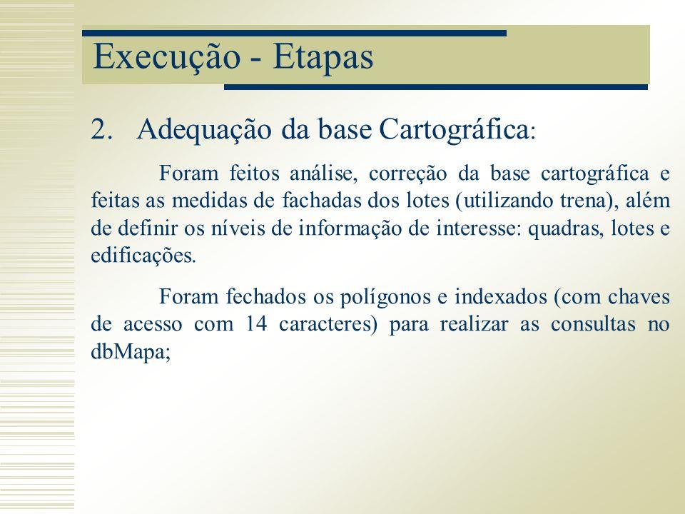 Execução - Etapas Foram feitos análise, correção da base cartográfica e feitas as medidas de fachadas dos lotes (utilizando trena), além de definir os
