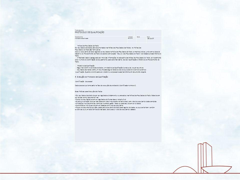 Título do documento PROTOCOLO DE QUALIFICAÇÃO Tipo do documento Protocolo de Qualificação Número do documento Edição Página 06 de 07 Folhas dos Result
