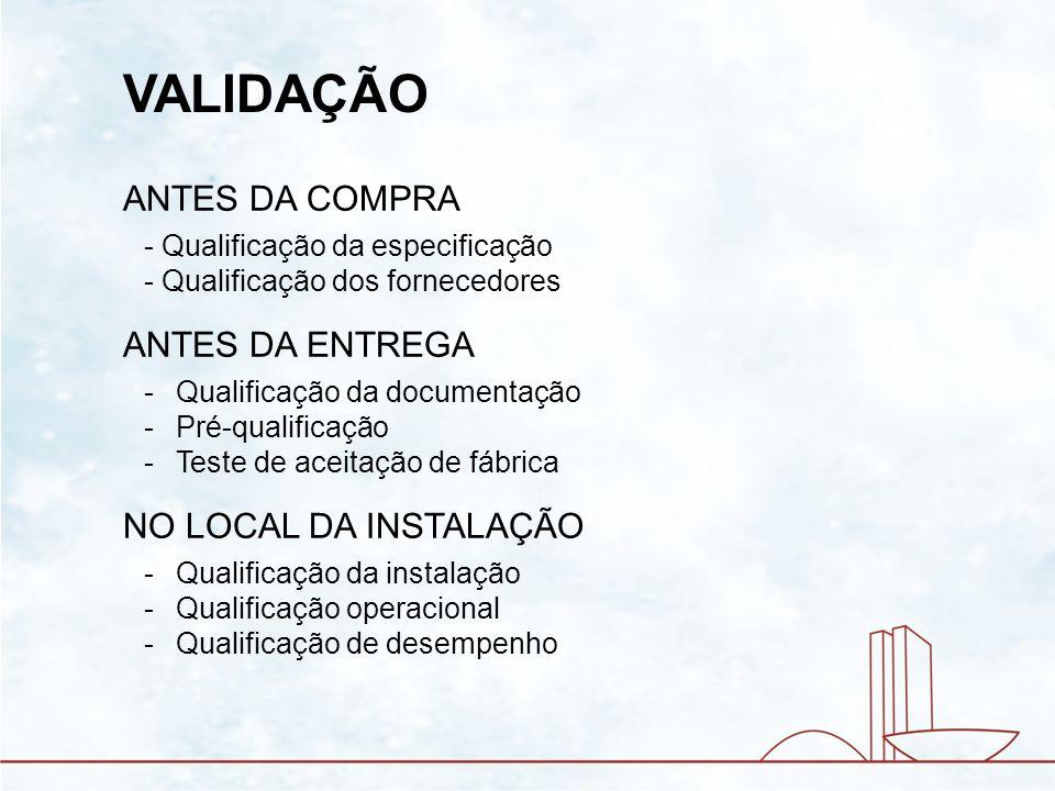 VALIDAÇÃO ANTES DA COMPRA - Qualificação da especificação - Qualificação dos fornecedores ANTES DA ENTREGA -Qualificação da documentação -Pré-qualific