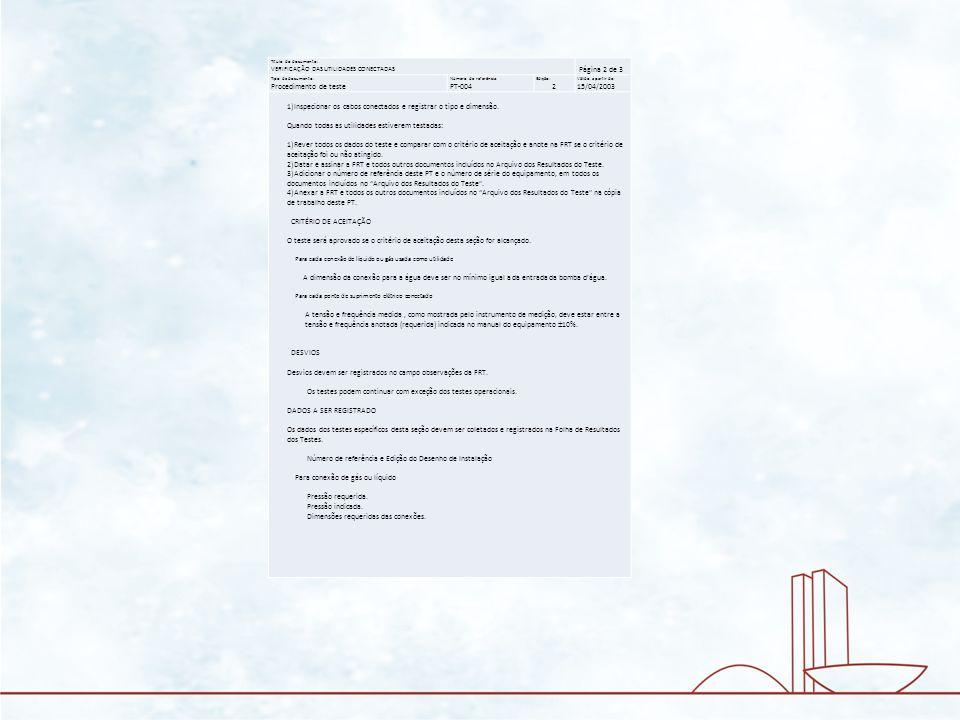 Título do documento: VERIFICAÇÃO DAS UTILIDADES CONECTADAS Página 2 de 3 Tipo de documento: Procedimento de teste Número de referência: PT-004 Edição: