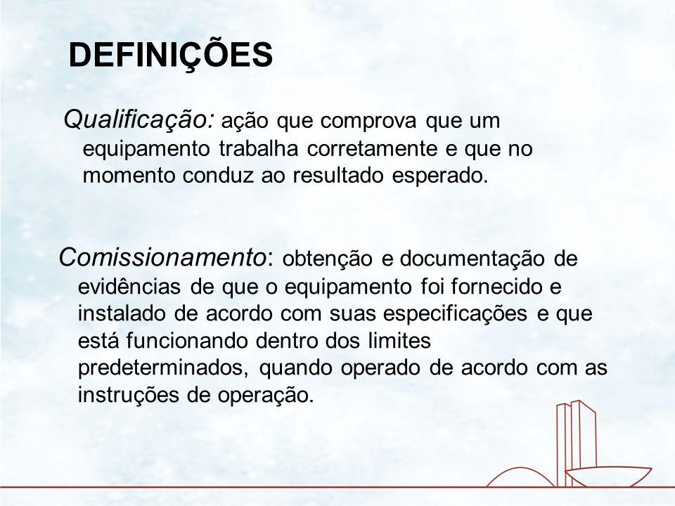 CERTIFICAÇÃO - Revisão final de toda a documentação - Aprovação dos resultados obtidos - Liberação do equipamento para uso