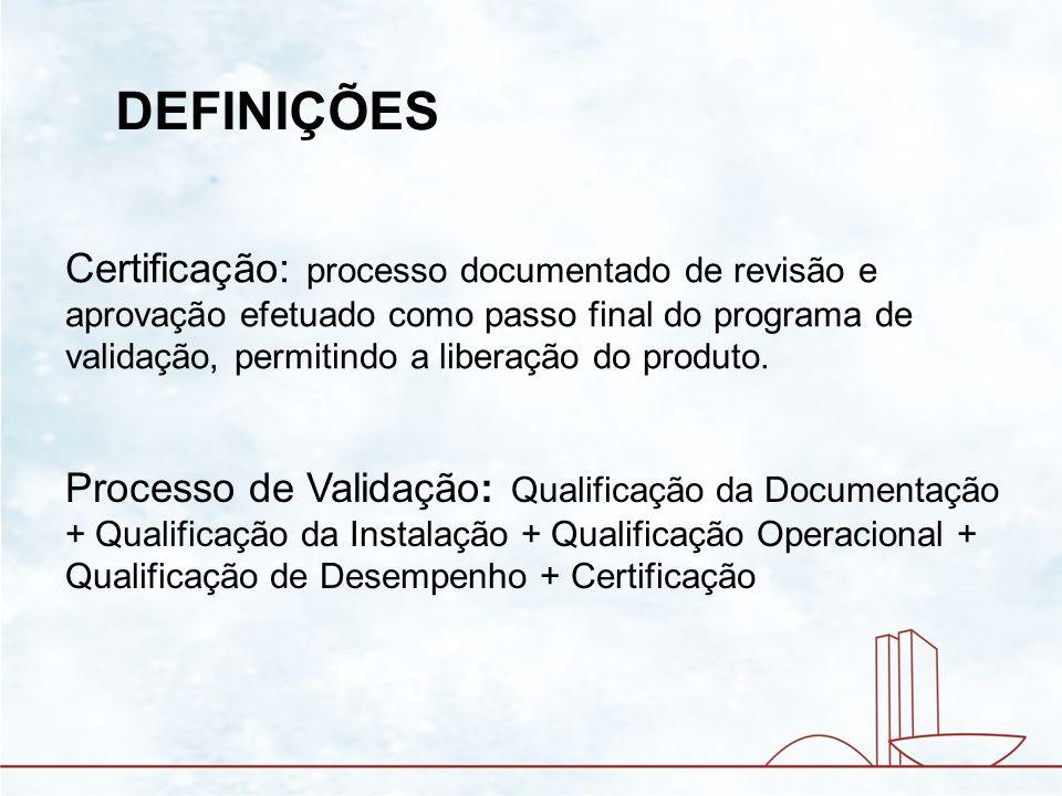 QUALIFICAÇÃO OPERACIONAL - Aprovação da documentação pelo comprador - Equipamentos de teste - Instrumentos de calibração - Protocolos de calibração para instrumentos de teste - Verificação da documentação - Verificação das funções de segurança - Verificação dos alarmes de processo - Verificação das senhas - Teste de vazamento - Verificação dos processos/teste de distribuição do calor
