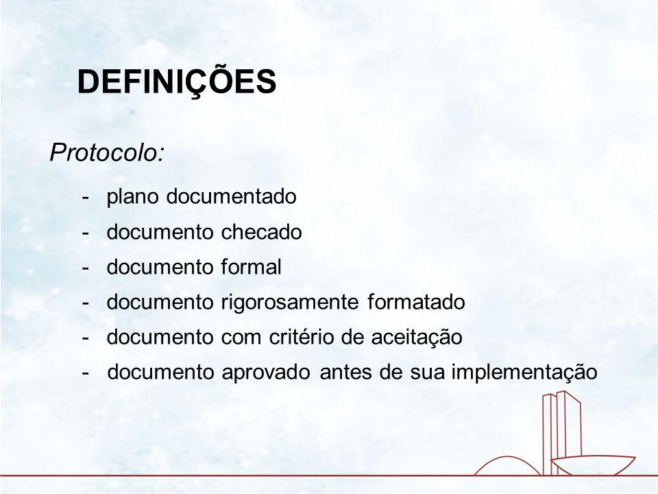 Protocolo: -plano documentado -documento checado -documento formal -documento rigorosamente formatado -documento com critério de aceitação - documento