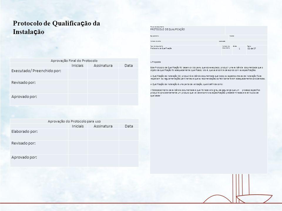 Título do documento PROTOCOLO DE QUALIFICAÇÃO Tipo do documento Protocolo de Qualificação Número do documento Edição Página 03 de 07 1.Escopo A Qualificação da Instalação checa que o equipamento ou sistema fornecido é o correto, no padrões requeridos e que está instalado corretamente.