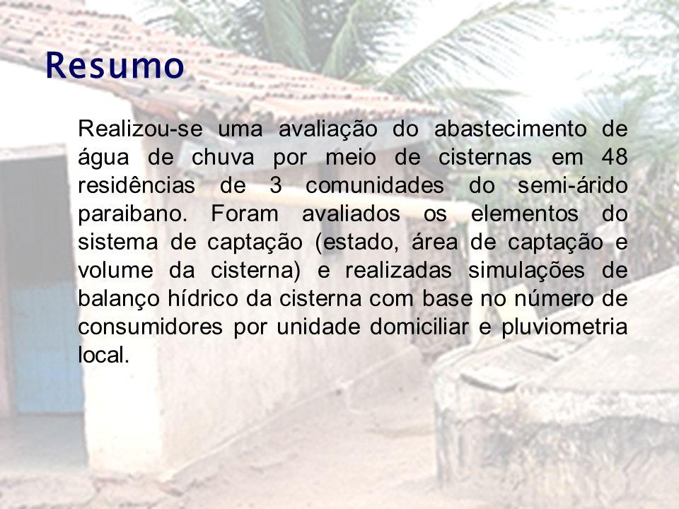 Resumo Realizou-se uma avaliação do abastecimento de água de chuva por meio de cisternas em 48 residências de 3 comunidades do semi-árido paraibano. F