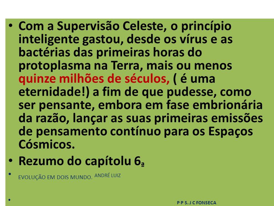 Com a Supervisão Celeste, o princípio inteligente gastou, desde os vírus e as bactérias das primeiras horas do protoplasma na Terra, mais ou menos qui