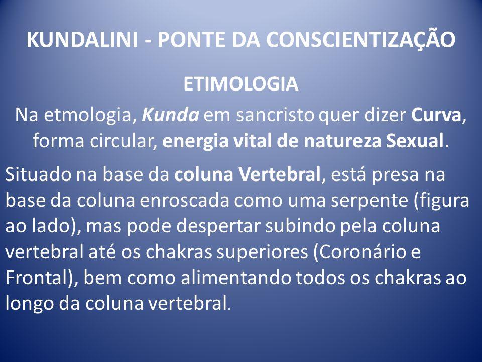 KUNDALINI - PONTE DA CONSCIENTIZAÇÃO ETIMOLOGIA Na etmologia, Kunda em sancristo quer dizer Curva, forma circular, energia vital de natureza Sexual. S