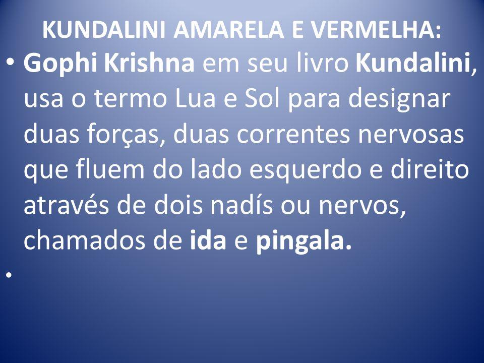 KUNDALINI AMARELA E VERMELHA: Gophi Krishna em seu livro Kundalini, usa o termo Lua e Sol para designar duas forças, duas correntes nervosas que fluem do lado esquerdo e direito através de dois nadís ou nervos, chamados de ida e pingala.