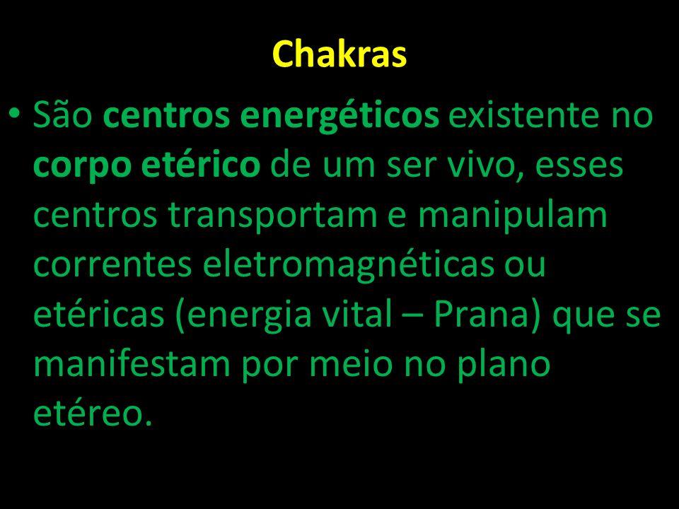 Chakras São centros energéticos existente no corpo etérico de um ser vivo, esses centros transportam e manipulam correntes eletromagnéticas ou etérica