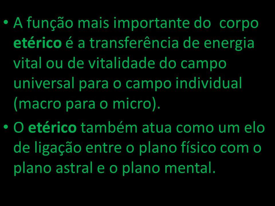 A função mais importante do corpo etérico é a transferência de energia vital ou de vitalidade do campo universal para o campo individual (macro para o