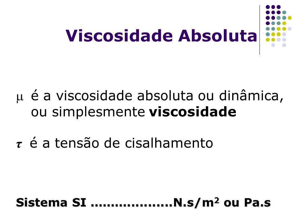 Viscosidade Absoluta é a viscosidade absoluta ou dinâmica, ou simplesmente viscosidade τ é a tensão de cisalhamento Sistema SI....................N.s/