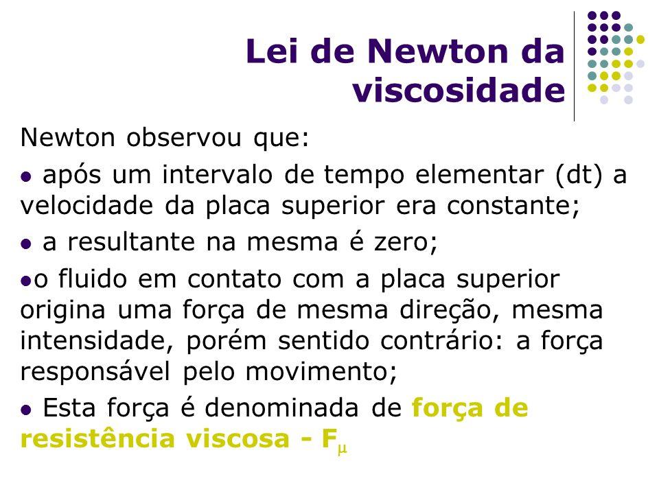 Lei de Newton da viscosidade Newton observou que: após um intervalo de tempo elementar (dt) a velocidade da placa superior era constante; a resultante