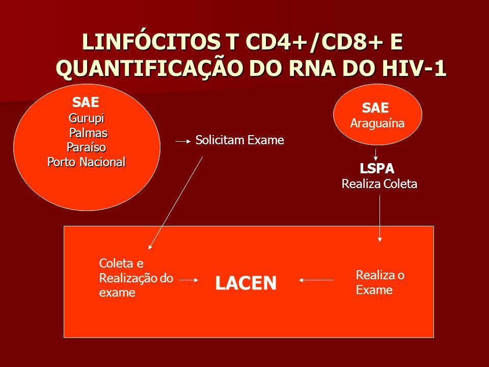 LINFÓCITOS T CD4+/CD8+ E QUANTIFICAÇÃO DO RNA DO HIV-1 Solicitam Exame Coleta e Realização Do exame Coleta e Realização do exame Gurupi Palmas PalmasP