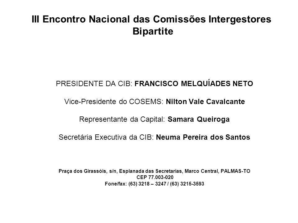 III Encontro Nacional das Comissões Intergestores Bipartite PRESIDENTE DA CIB: FRANCISCO MELQUÍADES NETO Vice-Presidente do COSEMS: Nilton Vale Cavalc