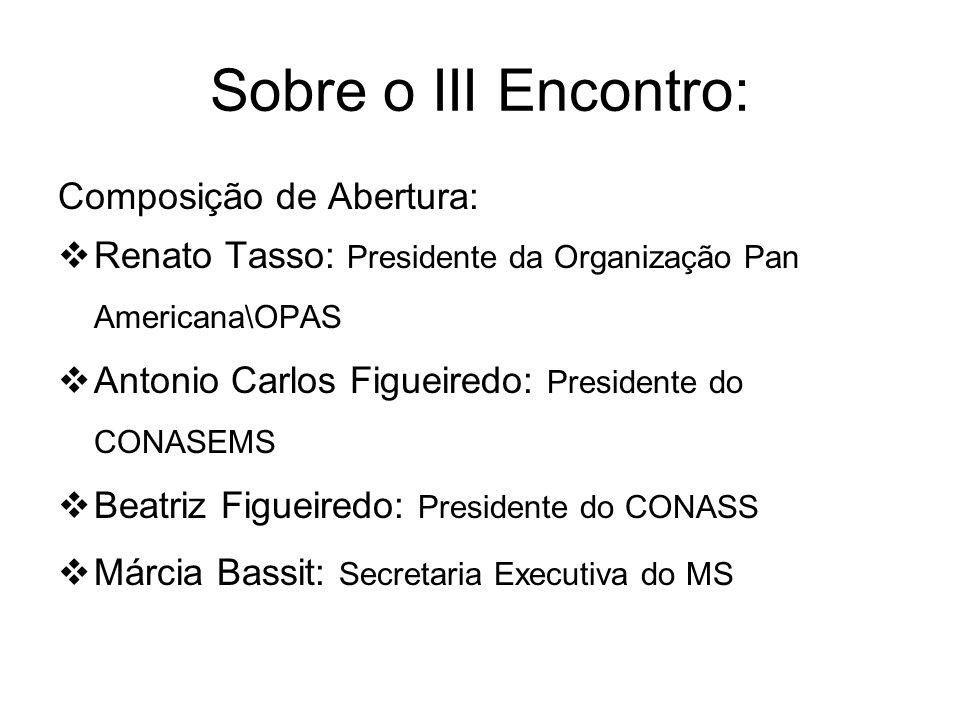 Sobre o III Encontro: Composição de Abertura: Renato Tasso: Presidente da Organização Pan Americana\OPAS Antonio Carlos Figueiredo: Presidente do CONA