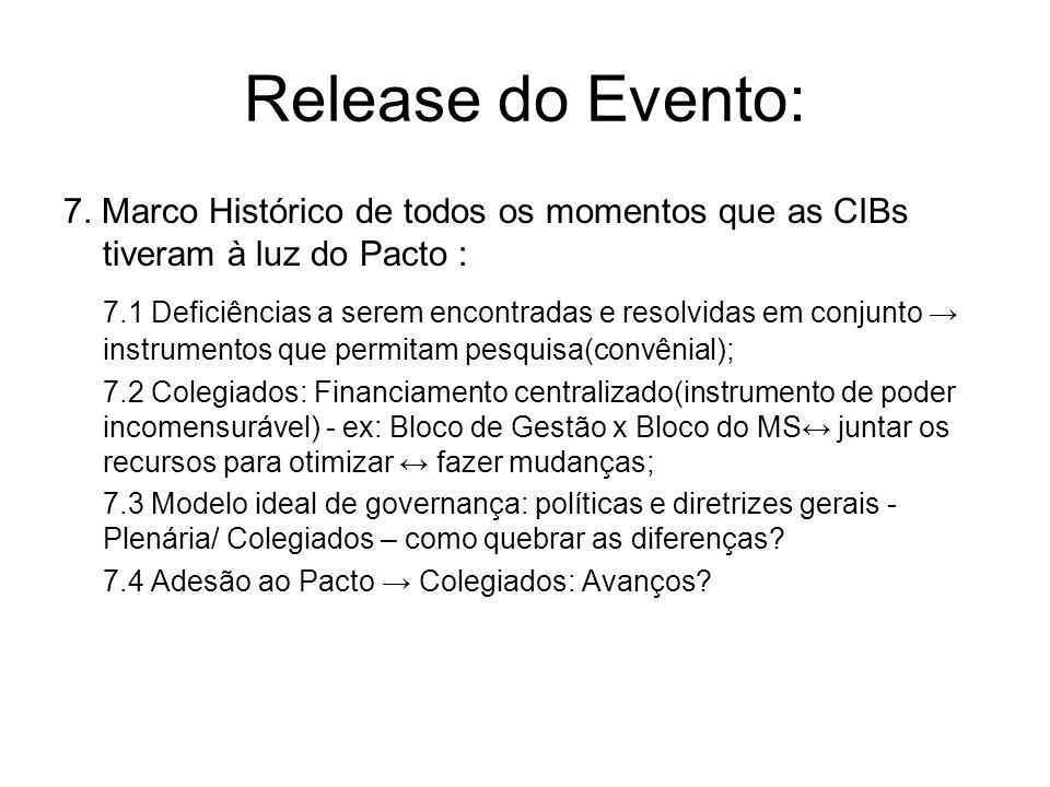 Release do Evento: 7. Marco Histórico de todos os momentos que as CIBs tiveram à luz do Pacto : 7.1 Deficiências a serem encontradas e resolvidas em c