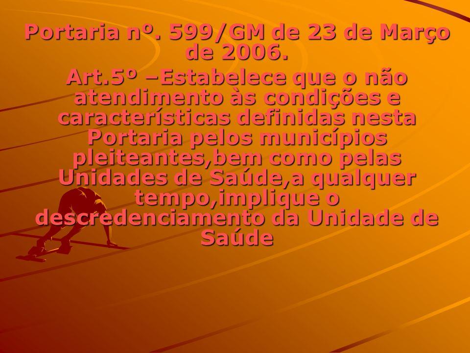 PORTARIA 600/GM de 23 de março de 2006 Art.5º Estabelece que o não atendimento às condições estabelecidas no anexo a esta Portaria implicará o descredenciamento das Unidades de Saúde.