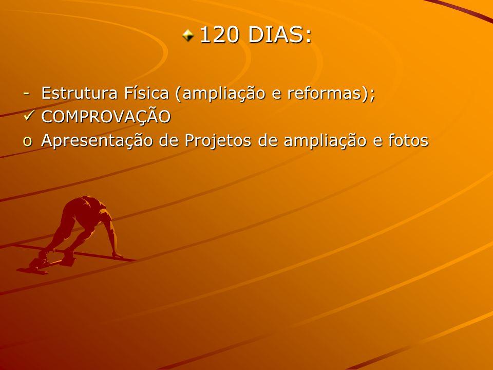120 DIAS: -Estrutura Física (ampliação e reformas); COMPROVAÇÃO COMPROVAÇÃO oApresentação de Projetos de ampliação e fotos