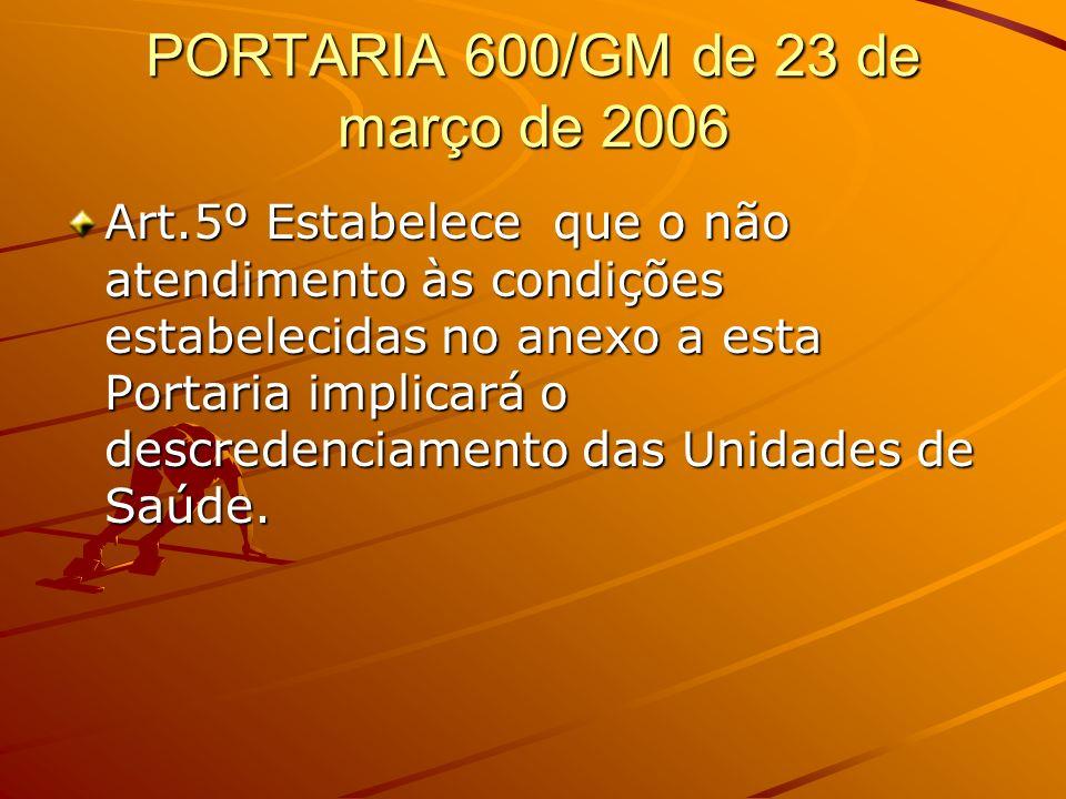 PORTARIA 600/GM de 23 de março de 2006 Art.5º Estabelece que o não atendimento às condições estabelecidas no anexo a esta Portaria implicará o descred