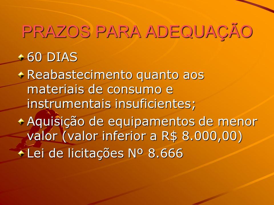 PRAZOS PARA ADEQUAÇÃO 60 DIAS Reabastecimento quanto aos materiais de consumo e instrumentais insuficientes; Aquisição de equipamentos de menor valor