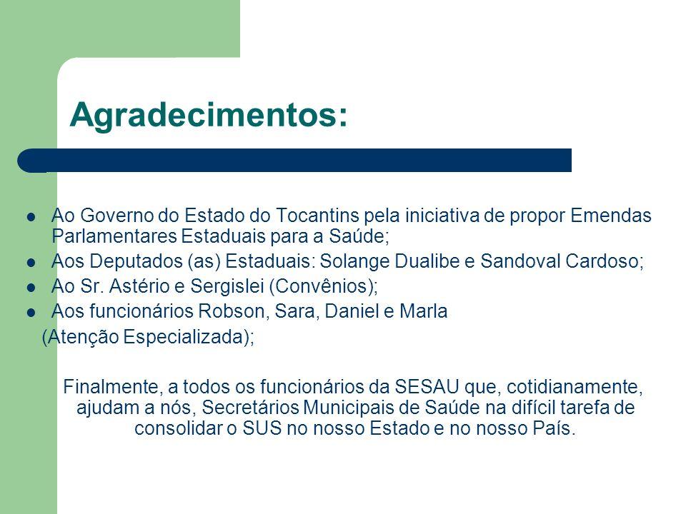 Agradecimentos: Ao Governo do Estado do Tocantins pela iniciativa de propor Emendas Parlamentares Estaduais para a Saúde; Aos Deputados (as) Estaduais: Solange Dualibe e Sandoval Cardoso; Ao Sr.