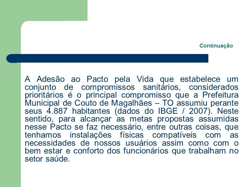 Continuação A Adesão ao Pacto pela Vida que estabelece um conjunto de compromissos sanitários, considerados prioritários é o principal compromisso que a Prefeitura Municipal de Couto de Magalhães – TO assumiu perante seus 4.887 habitantes (dados do IBGE / 2007).