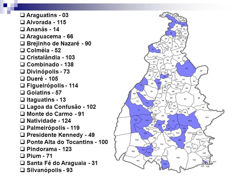 Araguatins - 03 Alvorada - 115 Ananás - 14 Araguacema - 66 Brejinho de Nazaré - 90 Colméia - 52 Cristalândia - 103 Combinado - 138 Divinópolis - 73 Dueré - 105 Figueirópolis - 114 Goiatins - 57 Itaguatins - 13 Lagoa da Confusão - 102 Monte do Carmo - 91 Natividade - 124 Palmeirópolis - 119 Presidente Kennedy - 49 Ponte Alta do Tocantins - 100 Pindorama - 123 Pium - 71 Santa Fé do Araguaia - 31 Silvanópolis - 93
