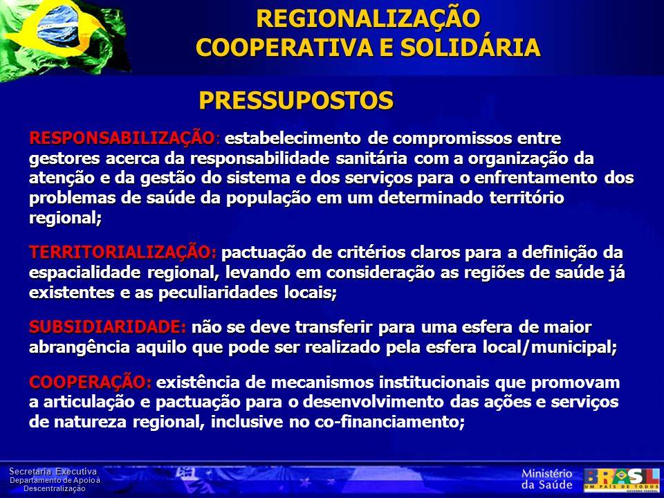 Secretaria Executiva Departamento de Apoio à Descentralização RESPONSABILIZAÇÃO: estabelecimento de compromissos entre gestores acerca da responsabili
