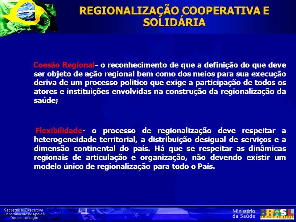 Secretaria Executiva Departamento de Apoio à Descentralização REGIONALIZAÇÃO COOPERATIVA E SOLIDÁRIA Coesão Regional- o reconhecimento de que a defini