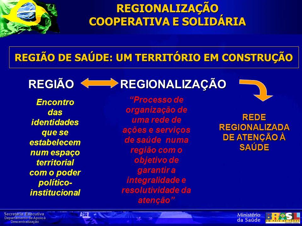 Secretaria Executiva Departamento de Apoio à Descentralização REGIÃO DE SAÚDE: UM TERRITÓRIO EM CONSTRUÇÃO REGIÃO REGIONALIZAÇÃO Encontro das identida