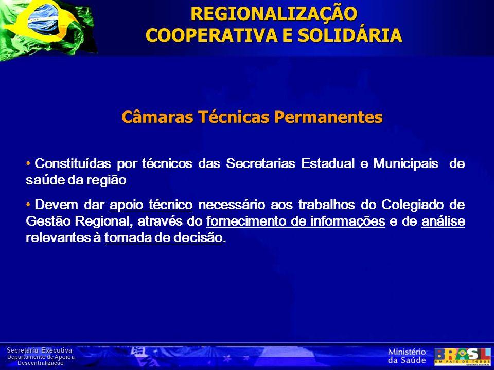 Secretaria Executiva Departamento de Apoio à Descentralização REGIONALIZAÇÃO COOPERATIVA E SOLIDÁRIA Constituídas por técnicos das Secretarias Estadua