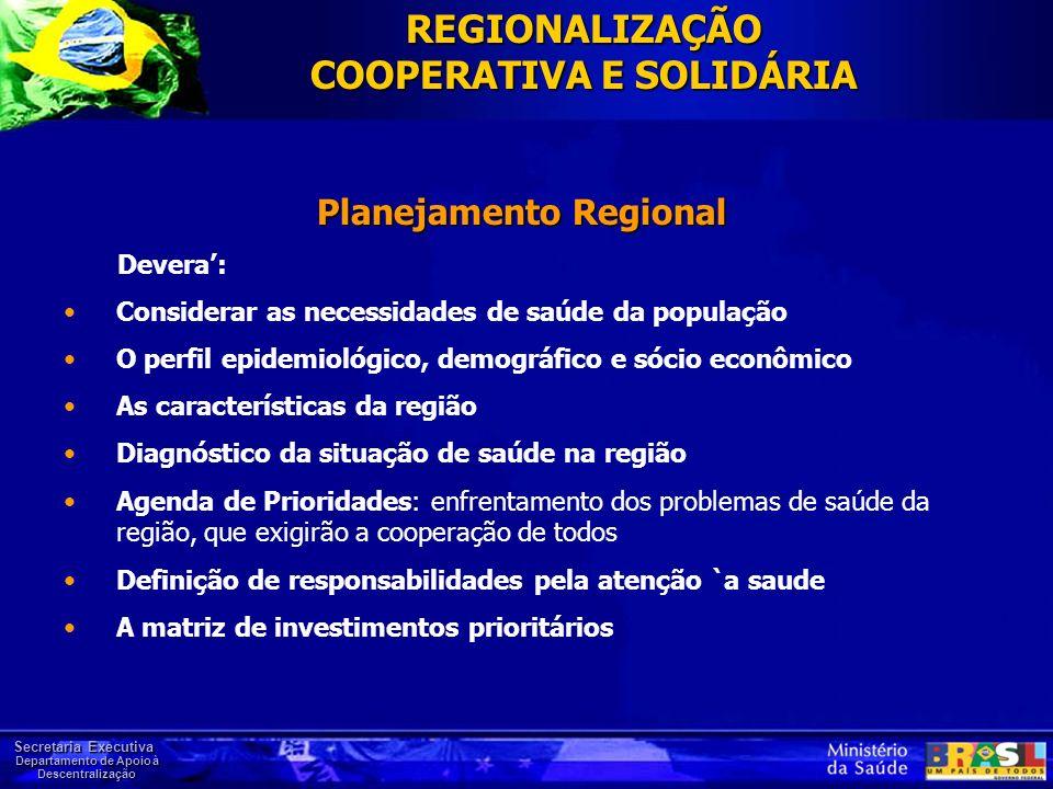 Secretaria Executiva Departamento de Apoio à Descentralização Planejamento Regional Devera: Considerar as necessidades de saúde da população O perfil