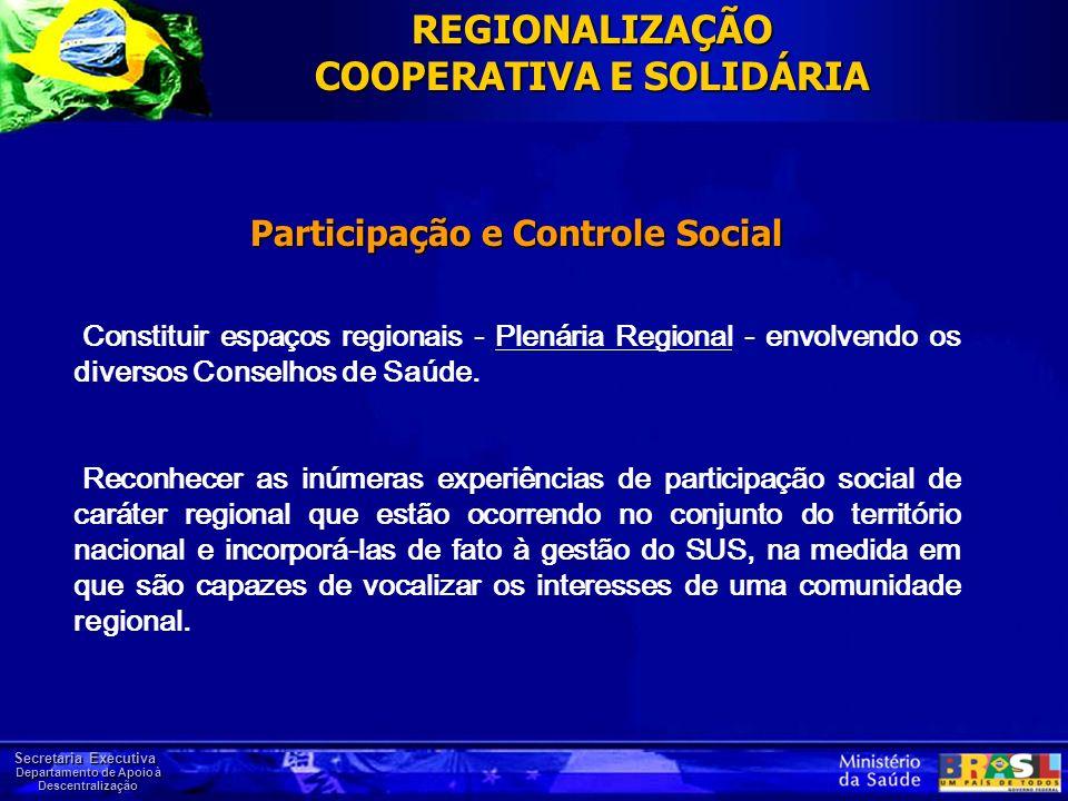 Secretaria Executiva Departamento de Apoio à Descentralização Participação e Controle Social Constituir espaços regionais - Plenária Regional - envolv