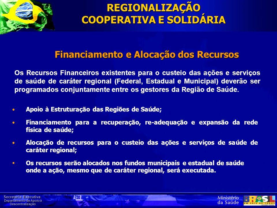 Secretaria Executiva Departamento de Apoio à Descentralização Financiamento e Alocação dos Recursos Apoio à Estruturação das Regiões de Saúde; Financi