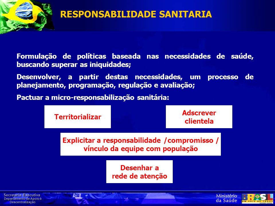 Secretaria Executiva Departamento de Apoio à Descentralização Formulação de políticas baseada nas necessidades de saúde, buscando superar as iniquidad