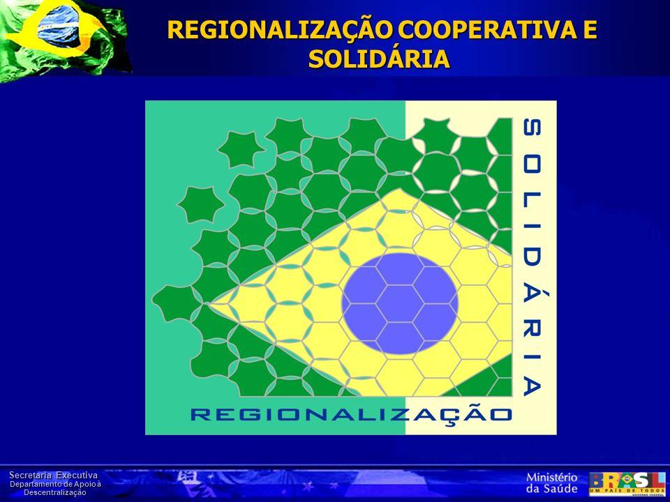 Secretaria Executiva Departamento de Apoio à Descentralização REGIONALIZAÇÃO COOPERATIVA E SOLIDÁRIA REGIONALIZAÇÃO COOPERATIVA E SOLIDÁRIA