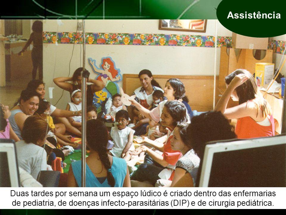 Assistência Duas tardes por semana um espaço lúdico é criado dentro das enfermarias de pediatria, de doenças infecto-parasitárias (DIP) e de cirurgia pediátrica.
