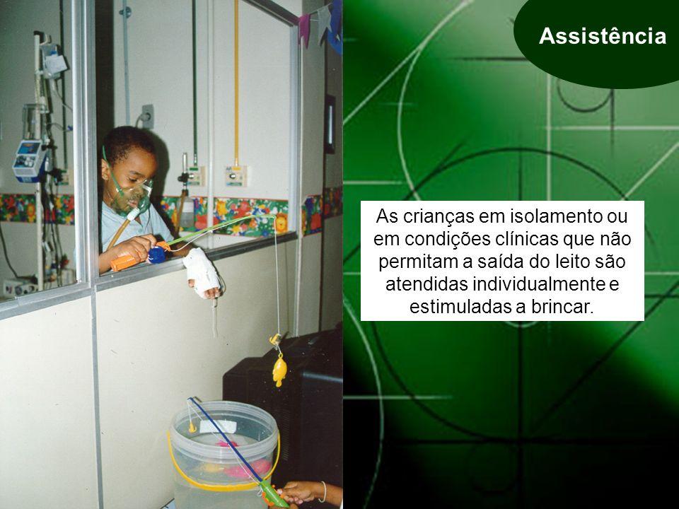 As crianças em isolamento ou em condições clínicas que não permitam a saída do leito são atendidas individualmente e estimuladas a brincar.