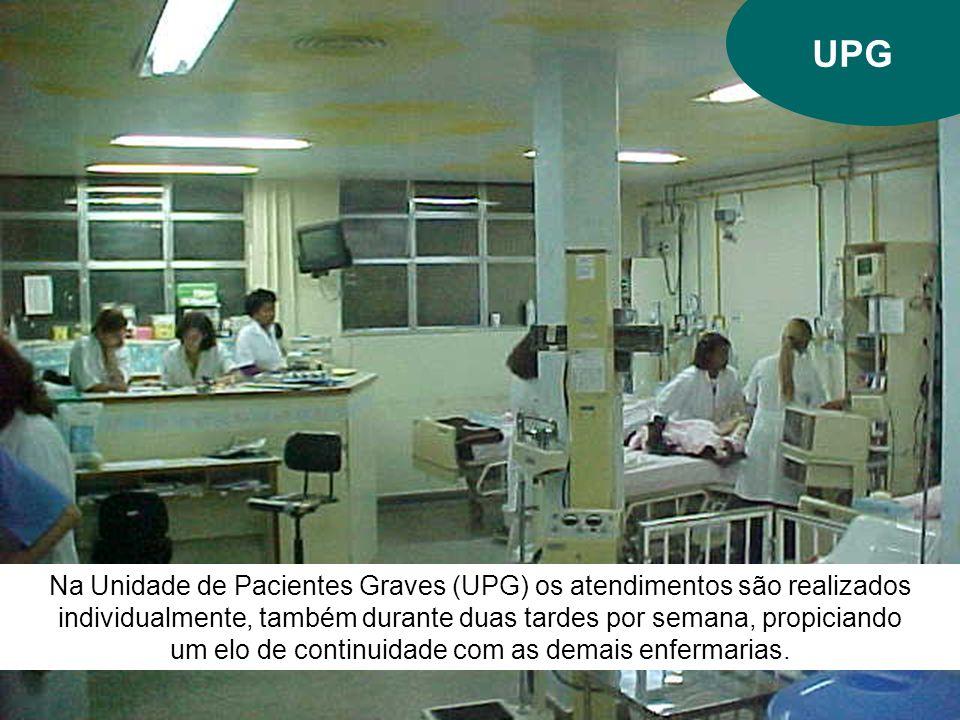 UPG Na Unidade de Pacientes Graves (UPG) os atendimentos são realizados individualmente, também durante duas tardes por semana, propiciando um elo de continuidade com as demais enfermarias.