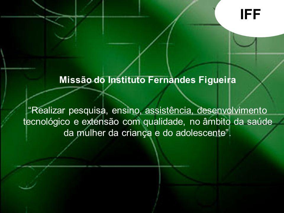 IFF Missão do Instituto Fernandes Figueira Realizar pesquisa, ensino, assistência, desenvolvimento tecnológico e extensão com qualidade, no âmbito da saúde da mulher da criança e do adolescente.