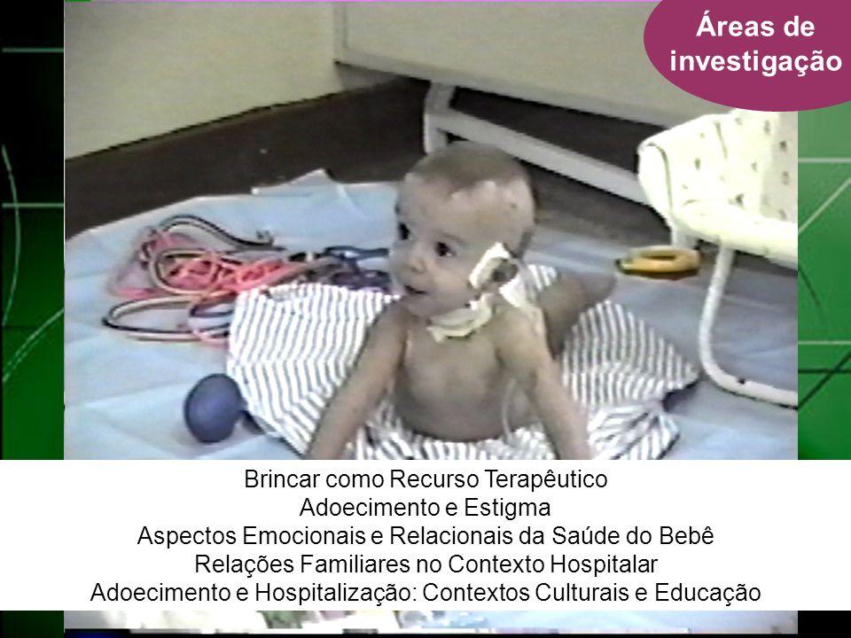 Áreas de investigação Brincar como Recurso Terapêutico Adoecimento e Estigma Aspectos Emocionais e Relacionais da Saúde do Bebê Relações Familiares no Contexto Hospitalar Adoecimento e Hospitalização: Contextos Culturais e Educação