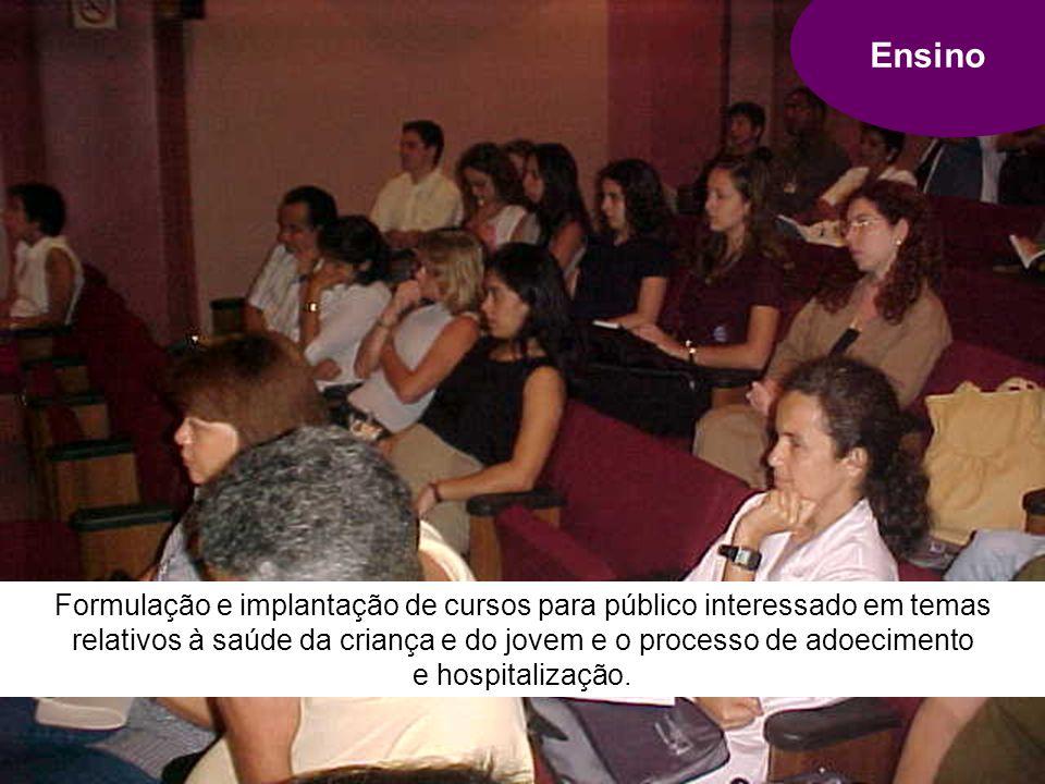 Ensino Formulação e implantação de cursos para público interessado em temas relativos à saúde da criança e do jovem e o processo de adoecimento e hospitalização.