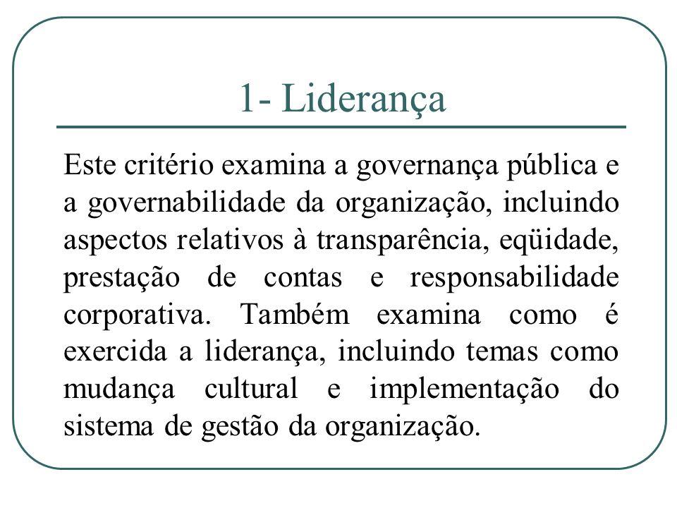 1- Liderança Este critério examina a governança pública e a governabilidade da organização, incluindo aspectos relativos à transparência, eqüidade, pr