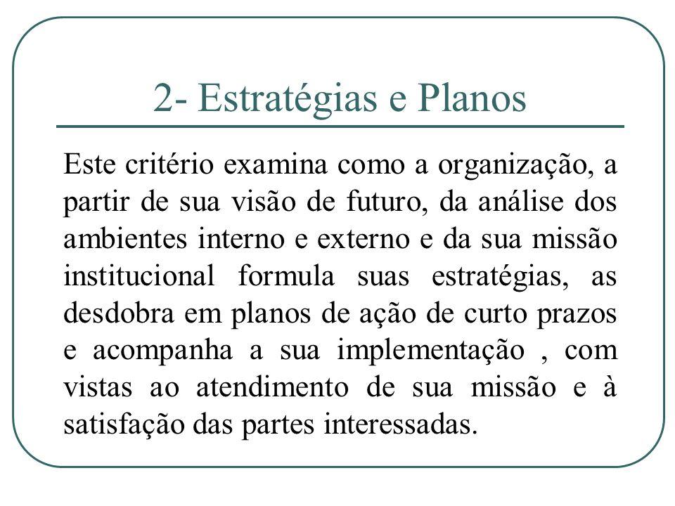 2- Estratégias e Planos Este critério examina como a organização, a partir de sua visão de futuro, da análise dos ambientes interno e externo e da sua