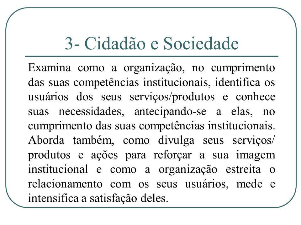 3- Cidadão e Sociedade Examina como a organização, no cumprimento das suas competências institucionais, identifica os usuários dos seus serviços/produ