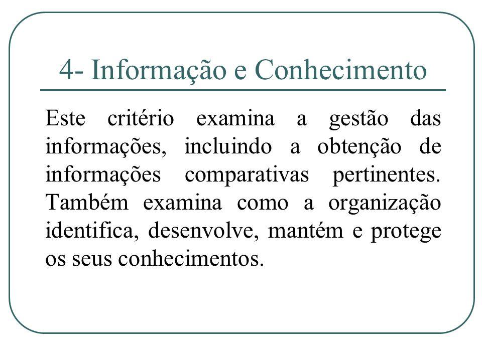 4- Informação e Conhecimento Este critério examina a gestão das informações, incluindo a obtenção de informações comparativas pertinentes. Também exam